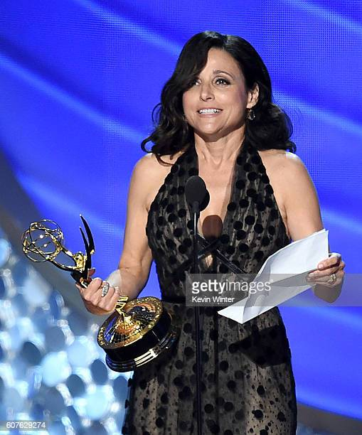 Actress Julia LouisDreyfus accepts Outstanding Lead Actress in a Comedy Series for 'Veep' onstage during the 68th Annual Primetime Emmy Awards at...