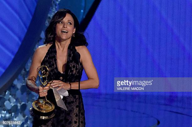 Actress Julia LouisDreyfus accepts Outstanding Lead Actress in a Comedy Series for 'Veep' onstage during the 68th Emmy Awards show on September 18...