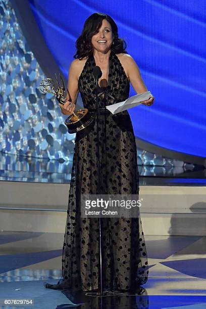 Actress Julia Louis-Dreyfus accepts the Oustanding Lead Actress in a Comedy Series award for 'Veep' onstage during the 68th Annual Primetime Emmy...