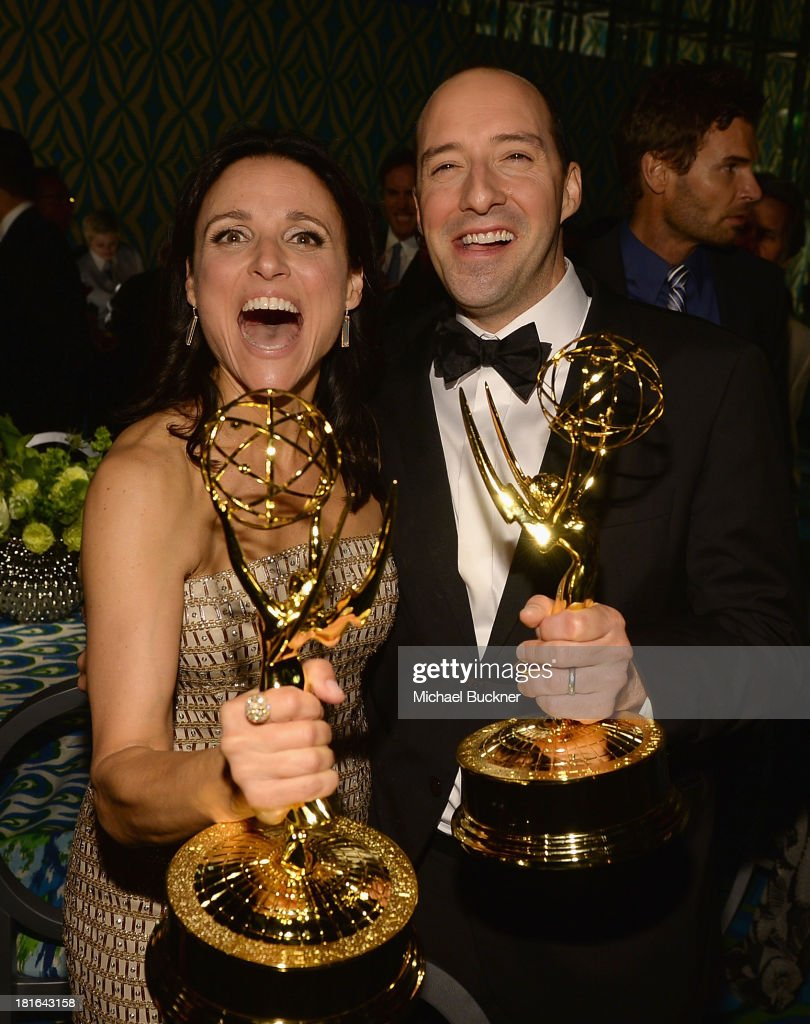 Actress Julia Louis-Dreyfus (L) and actor Tony Hale attend HBO's Annual Primetime Emmy Awards Post Award Reception at The Plaza at the Pacific Design Center on September 22, 2013 in Los Angeles, California.