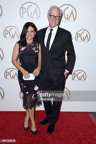 Actress Julia LouisDreyfus and Brad Hall attend the 26th Annual Producers Guild Of America Awards at the Hyatt Regency Century Plaza on January 24...
