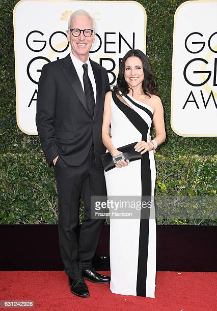 Actress Julia LouisDreyfus and Brad Hall attend the 74th Annual Golden Globe Awards at The Beverly Hilton Hotel on January 8 2017 in Beverly Hills...