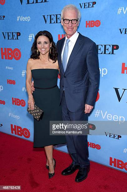 Actress Julia LouisDreyfus and Brad Hall attend the 'VEEP' Season 4 New York Screening at the SVA Theater on April 6 2015 in New York City