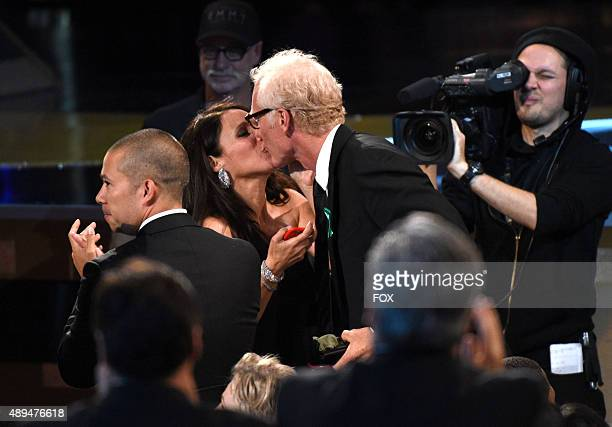 Actress Julia LouisDreyfus and Brad Hall during the 67th Annual Primetime Emmy Awards at Microsoft Theater on September 20 2015 in Los Angeles...