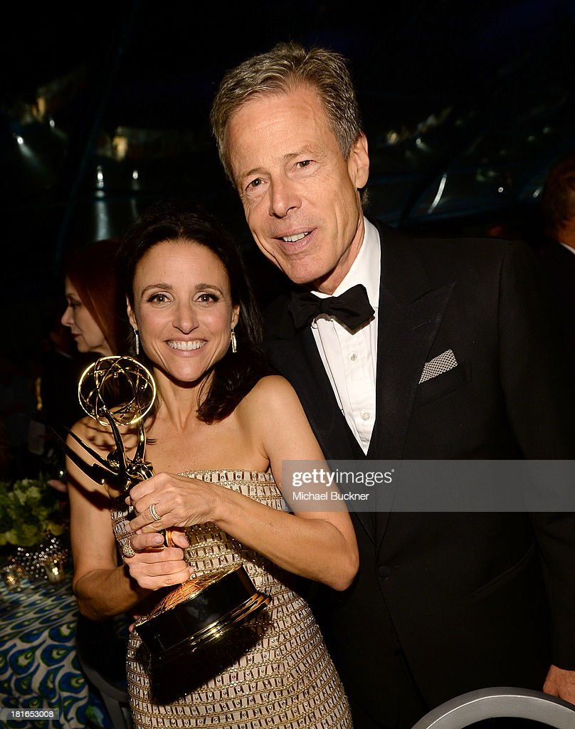 Actress Julia Louis-Dreyfus (L) and Jeffrey Bewkes of HBO attend HBO's Annual Primetime Emmy Awards Post Award Reception at The Plaza at the Pacific Design Center on September 22, 2013 in Los Angeles, California.