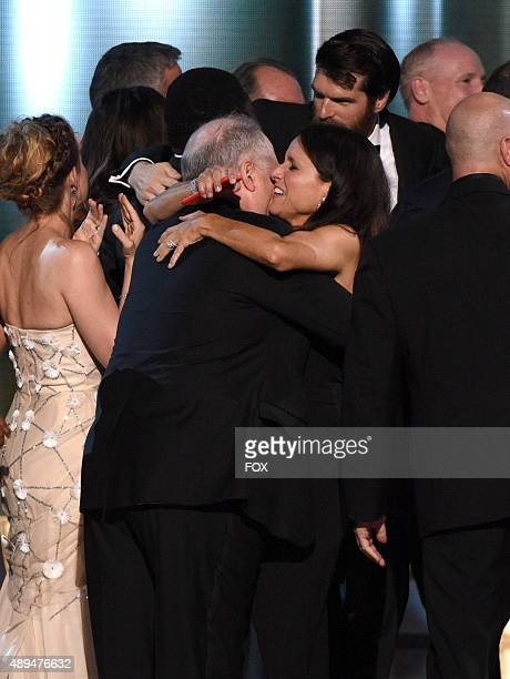 Actress Julia LouisDreyfus and presenter Mel Brooks onstage during the 67th Annual Primetime Emmy Awards at Microsoft Theater on September 20 2015 in...
