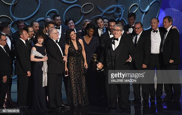 Actress Julia LouisDreyfus and producer David Mandel and the cast and crew accept the award for Outstanding Comedy Series for 'Veep' during the 68th...