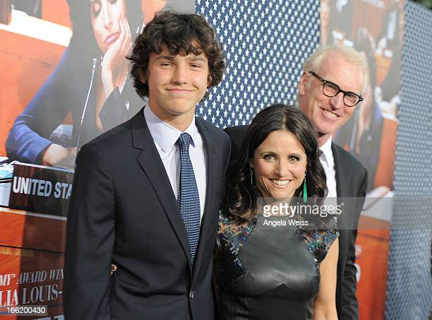 Actress Julia LouisDreyfus and son Charles Hall attend the Los Angeles premiere for the second season of HBO's series 'Veep' at Paramount Studios on...