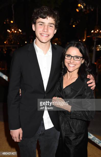 Actress Julia LouisDreyfus and son Charles Hall attend the 'VEEP' season 3 premiere at Paramount Studios on March 24 2014 in Hollywood California