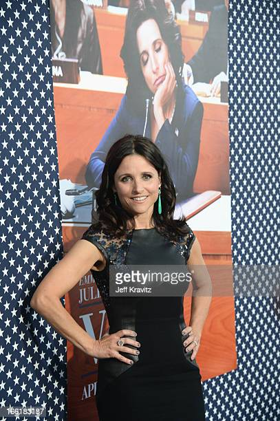 """Actress Julia Louis-Dreyfus arrives at HBO Presents """"Veep"""" Season 2 Premiere - Red Carpet at Paramount Studios on April 9, 2013 in Hollywood,..."""