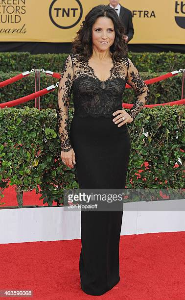 Actress Julia LouisDreyfus arrives at the 21st Annual Screen Actors Guild Awards at The Shrine Auditorium on January 25 2015 in Los Angeles California