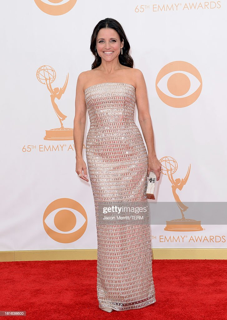 Actress Julia Louis-Dreyfus arrives at the 65th Annual Primetime Emmy Awards held at Nokia Theatre L.A. Live on September 22, 2013 in Los Angeles, California.