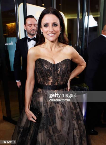 Actress Julia LouisDreyfus arrives at the 70th Annual Golden Globe Awards held at The Beverly Hilton Hotel on January 13 2013 in Beverly Hills...