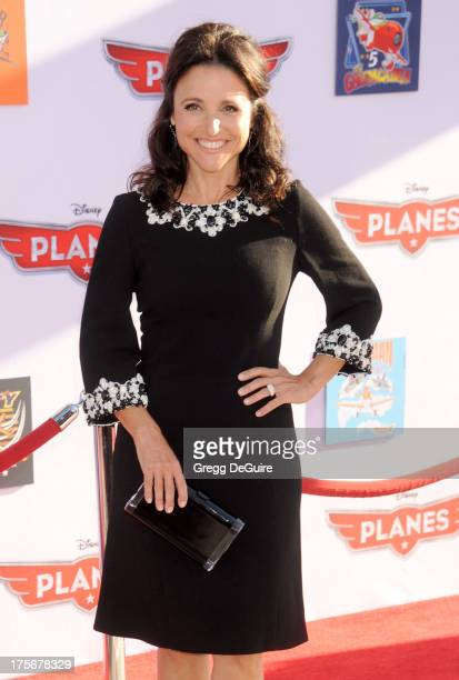 Actress Julia LouisDreyfus arrives at the Los Angeles premiere of 'Planes' at the El Capitan Theatre on August 5 2013 in Hollywood California