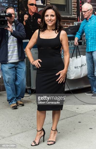 Actress Julia LouisDreyfus arrives to the 'Late Show With David Letterman' taping at the Ed Sullivan Theater on July 30 2014 in New York City