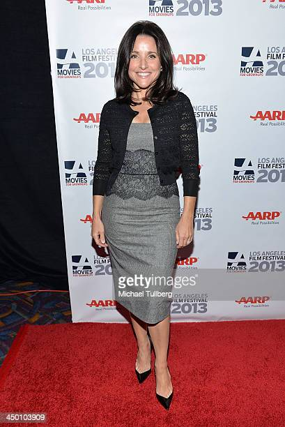 Actress Julia LouisDreyfus attends a screening of the film Enough Said at AARP's Movies For Grownups Film Festival 2013 at Regal Cinemas LA Live on...