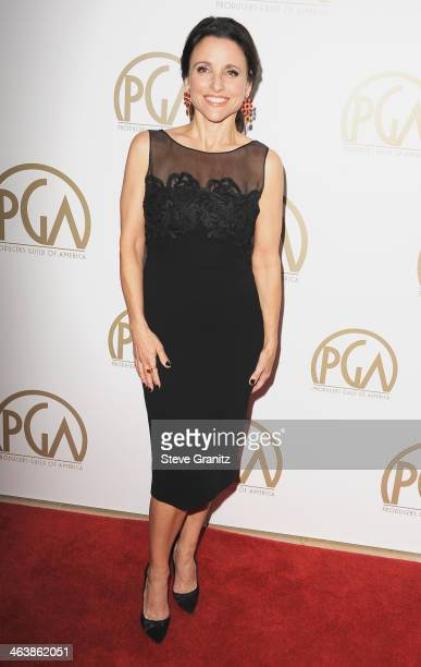 Actress Julia LouisDreyfus attends the 25th annual Producers Guild of America Awards at The Beverly Hilton Hotel on January 19 2014 in Beverly Hills...