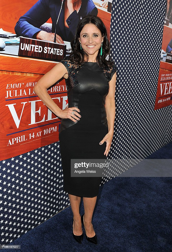 Actress Julia Louis-Dreyfus attends the Los Angeles premiere for the second season of HBO's series 'Veep' at Paramount Studios on April 9, 2013 in Hollywood, California.
