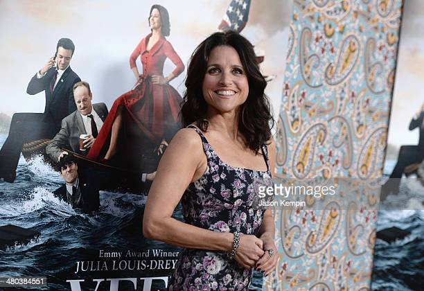 "Actress Julia Louis-Dreyfus attends the premiere of HBO's ""Veep"" 3rd Season at Paramount Studios on March 24, 2014 in Hollywood, California."