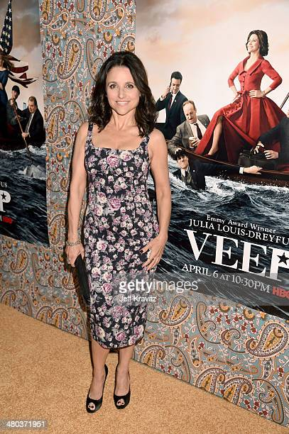 """Actress Julia Louis-Dreyfus attends the """"VEEP"""" season 3 premiere at Paramount Studios on March 24, 2014 in Hollywood, California."""