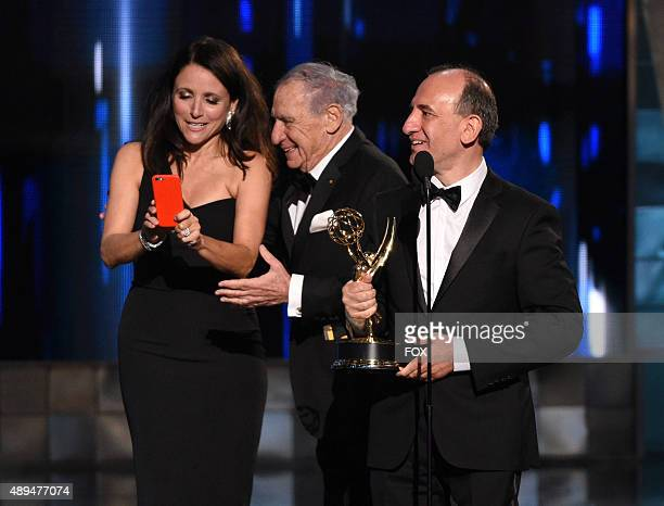 Actress Julia LouisDreyfus director Mel Brooks and Writer/producer Armando Iannucci winner of Outstanding Comedy Series award for 'Veep' onstage...