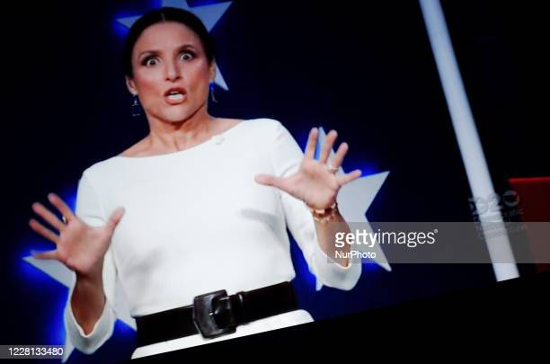 Actress Julia Louis-Dreyfus gestures while presenting the virtual 2020 Democratic National Convention, livestreamed online and viewed by laptop from...