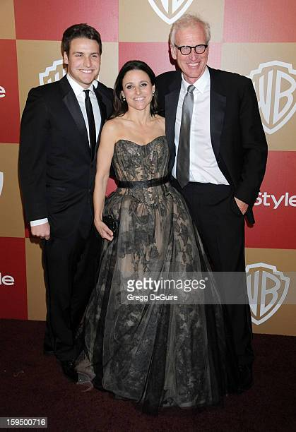 Actress Julia LouisDreyfus husband Brad Hall and son Henry Hall arrive at the InStyle and Warner Bros Golden Globe party at The Beverly Hilton Hotel...
