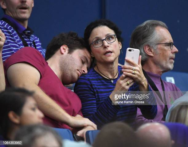 Actress Julia LouisDreyfus husband Brad Hall and son Henry Hall attend the 2018 Wooden Legacy to watch their son brother Charlie Hall play for the...