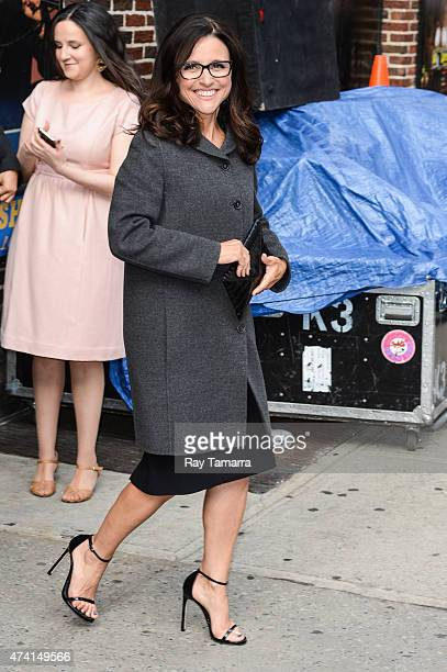 """Actress Julia Louis-Dreyfus leaves the """"Late Show With David Letterman"""" taping at Ed Sullivan Theater on May 20, 2015 in New York City."""