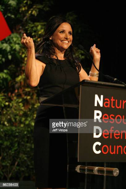 Actress Julia Louis-Dreyfus onstage at the Natural Resources Defense Council's 20th Anniversary Celebration at the Beverly Wilshire Hotel on April...