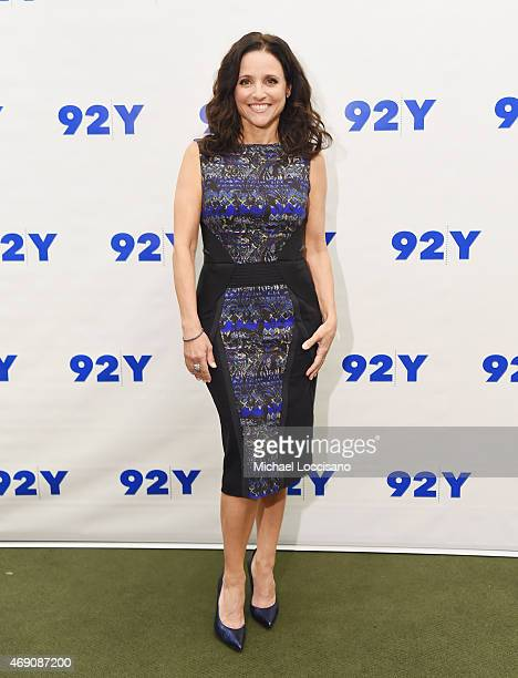 Actress Julia Louis-Dreyfus poses before taking part in 92nd Street Y Presents: Julia Louis-Dreyfus in Conversation with Frank Rich at the 92nd...