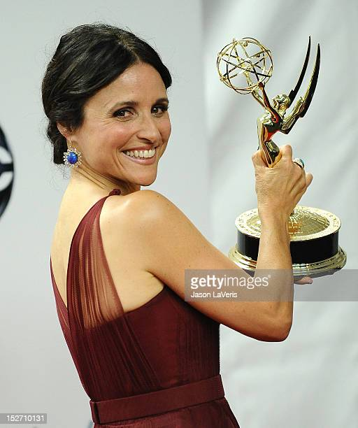 Actress Julia Louis-Dreyfus poses in the press room at the 64th Primetime Emmy Awards at Nokia Theatre L.A. Live on September 23, 2012 in Los...
