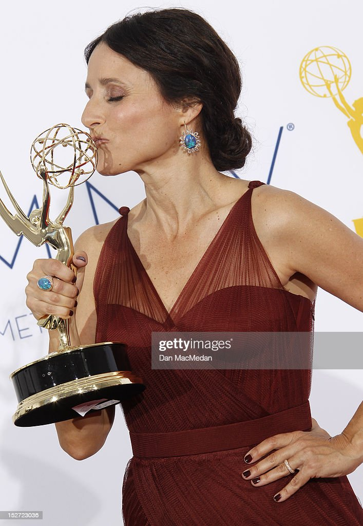 Actress Julia Louis-Dreyfus poses in the press room at the 64th Primetime Emmy Awards held at Nokia Theatre L.A. Live on September 23, 2012 in Los Angeles, California.