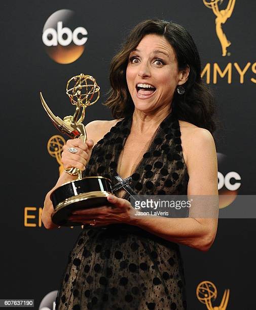 Actress Julia LouisDreyfus poses in the press room at the 68th annual Primetime Emmy Awards at Microsoft Theater on September 18 2016 in Los Angeles...