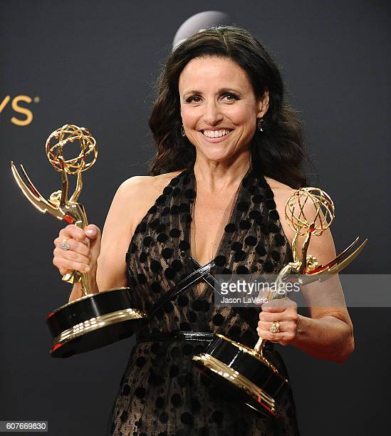 Actress Julia Louis-Dreyfus poses in the press room at the 68th annual Primetime Emmy Awards at Microsoft Theater on September 18, 2016 in Los...
