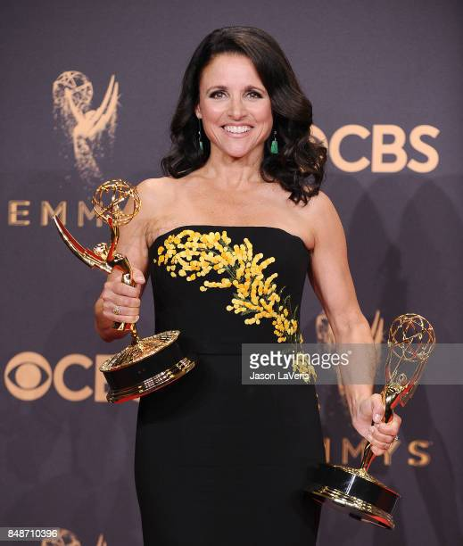 Actress Julia Louis-Dreyfus poses in the press room at the 69th annual Primetime Emmy Awards at Microsoft Theater on September 17, 2017 in Los...
