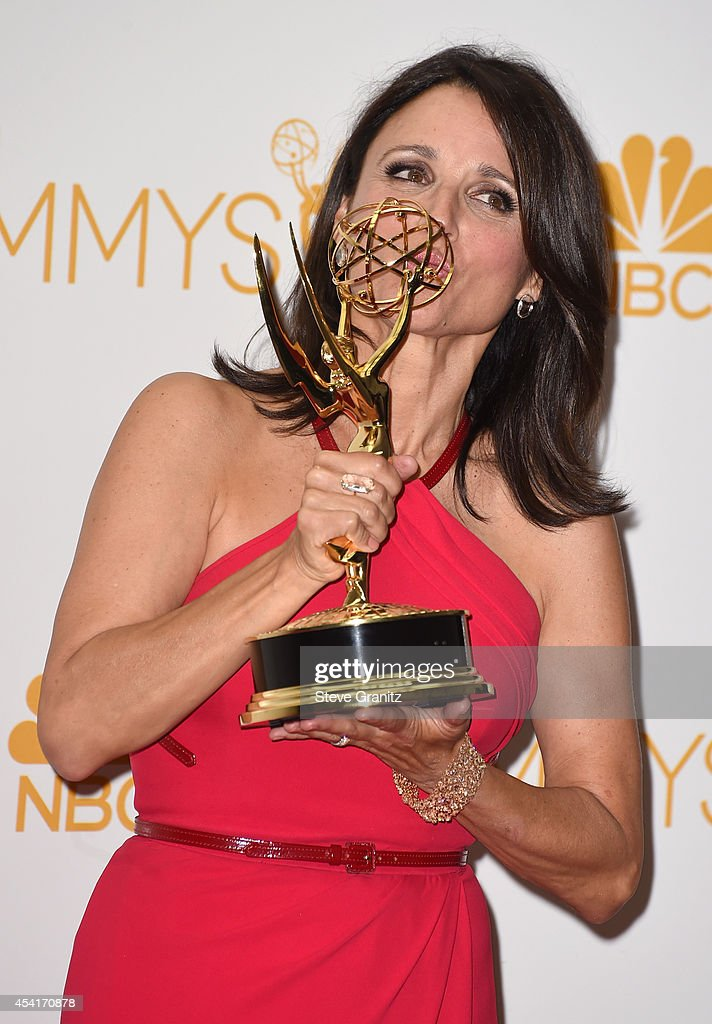 Actress Julia Louis-Dreyfus poses in the press room during the 66th Annual Primetime Emmy Awards held at Nokia Theatre L.A. Live on August 25, 2014 in Los Angeles, California.