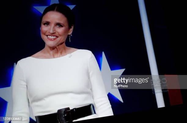 Actress Julia Louis-Dreyfus presents the virtual 2020 Democratic National Convention, livestreamed online and viewed by laptop from the United...