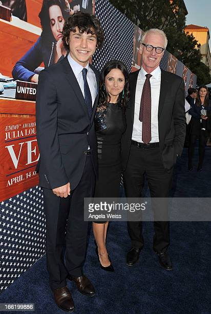 Actress Julia LouisDreyfus son Charles Hall and husband writer Brad Hall attend the Los Angeles premiere for the second season of HBO's series 'Veep'...