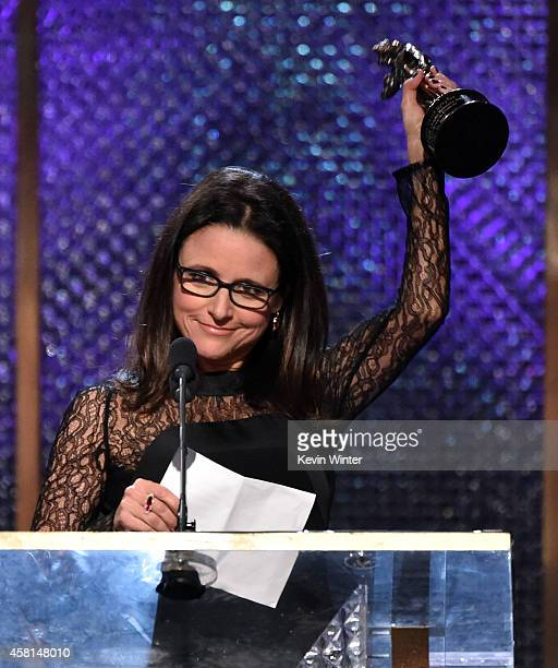 Actress Julia Louis-Dreyfus speaks onstage during the BAFTA Los Angeles Jaguar Britannia Awards presented by BBC America and United Airlines at The...