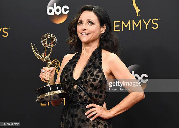 Actress Julia LouisDreyfus winner of Best Actress in a Comedy Series for 'Veep' poses in the press room during the 68th Annual Primetime Emmy Awards...