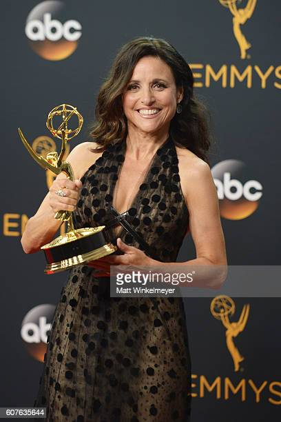 Actress Julia Louis-Dreyfus, winner of Best Actress in a Comedy Series for 'Veep' 68th Annual Primetime Emmy Awards at Microsoft Theater on September...