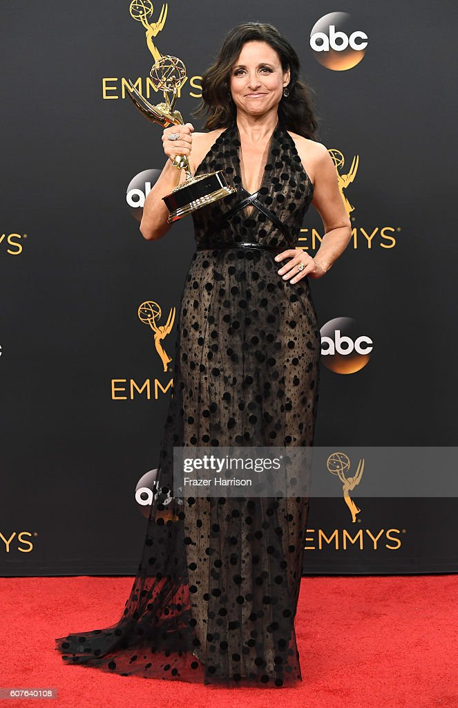 Actress Julia Louis-Dreyfus, winner of Best Actress in a Comedy Series for 'Veep', poses in the press room during the 68th Annual Primetime Emmy Awards at Microsoft Theater on September 18, 2016 in Los Angeles, California.