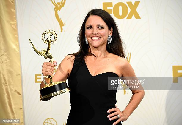 Actress Julia LouisDreyfus winner of Outstanding Lead Actress in a Comedy Series for Veep poses in the press room at the 67th Annual Primetime Emmy...