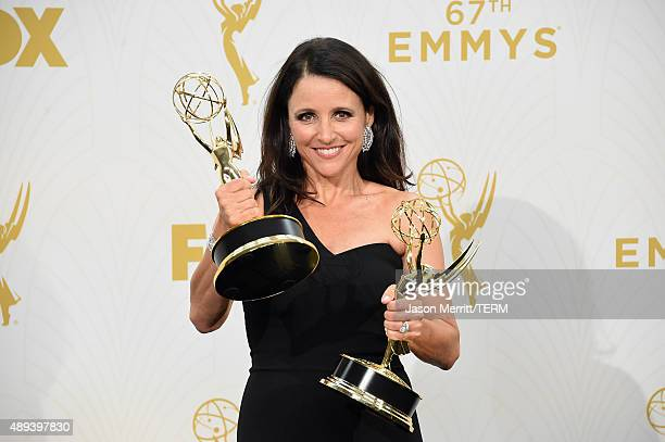 "Actress Julia Louis-Dreyfus, winner of Outstanding Lead Actress in a Comedy Series and Outstanding Comedy Series for ""Veep"", poses in the press room..."