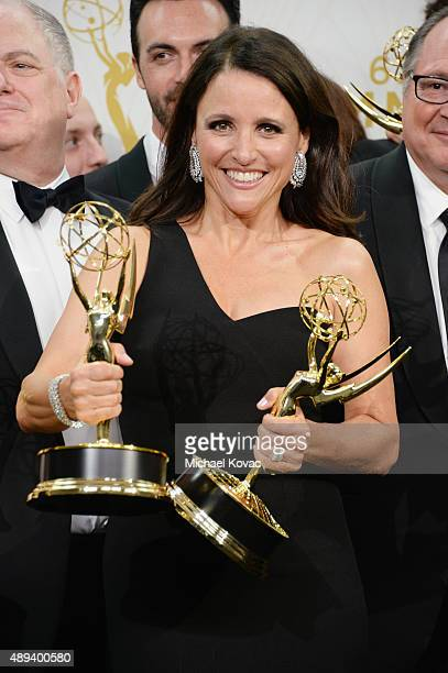 Actress Julia Louis-Dreyfus, winner of Outstanding Lead Actress in a Comedy Series for 'Veep' and Outstanding Comedy Series for 'Veep', poses in the...