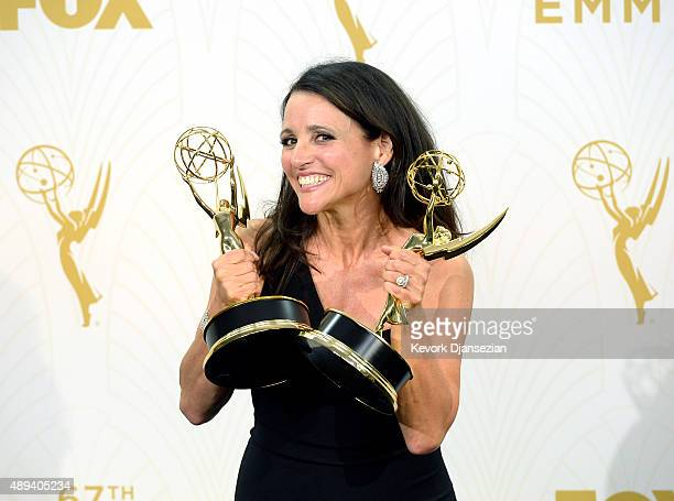 "Actress Julia Louis-Dreyfus, winner of Outstanding Lead Actress in a Comedy Series and Outstanding Comedy Series for ""Veep,"" poses in the press room..."