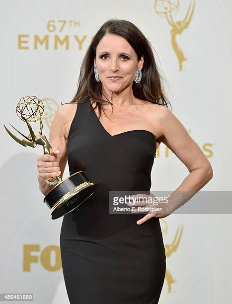Actress Julia LouisDreyfus winner of Outstanding Lead Actress in a Comedy Series for 'Veep' poses in the press room at the 67th Annual Primetime Emmy...