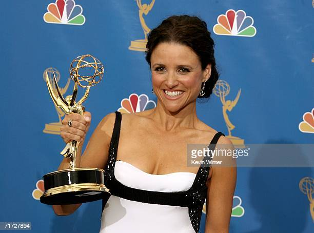 Actress Julia LouisDreyfus winner of Outstanding Lead Actress in a Comedy Series poses in the press room at the 58th Annual Primetime Emmy Awards at...