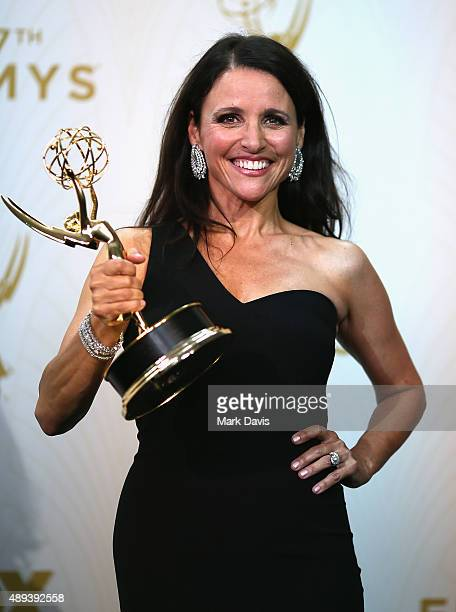 Actress Julia LouisDreyfus winner of the award for Outstanding Lead Actress in a Comedy Series for 'Veep' poses in the press room at the 67th Annual...